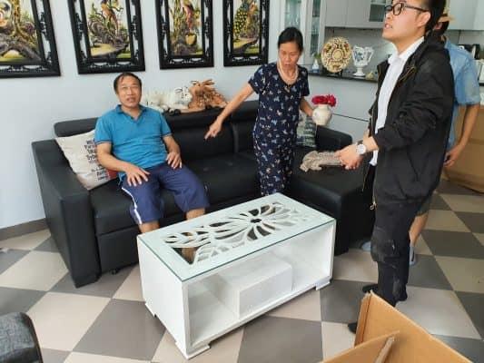 Giao hàng sofa góc giường SN40 cho nhà cô Lan – Đàm Quang Trung- Aeon Mall