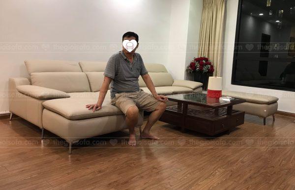 Giao hàng sofa da góc Malaysia1029 Max cho chị Thu tại Time City - Minh Khai - Hai Bà Trưng - Hà Nội