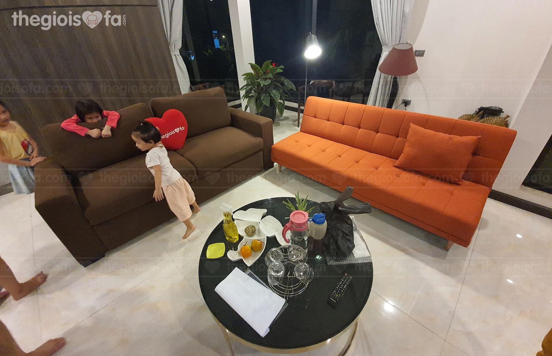 Giao hàng combo sofa giường giá rẻ Vincenzo, sofaland Vera Oranges cho anh Đức tại Xuân Trạch – Huyện Đông Anh