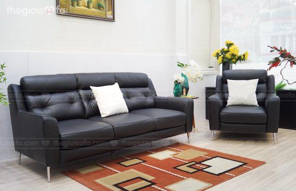 Sofa băng SB3905 da bò tiếp xúc màu đen