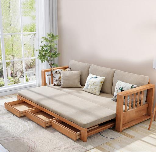Ghế sofa giường gỗ đa năng cho phòng khách đẹp và hiện đại.
