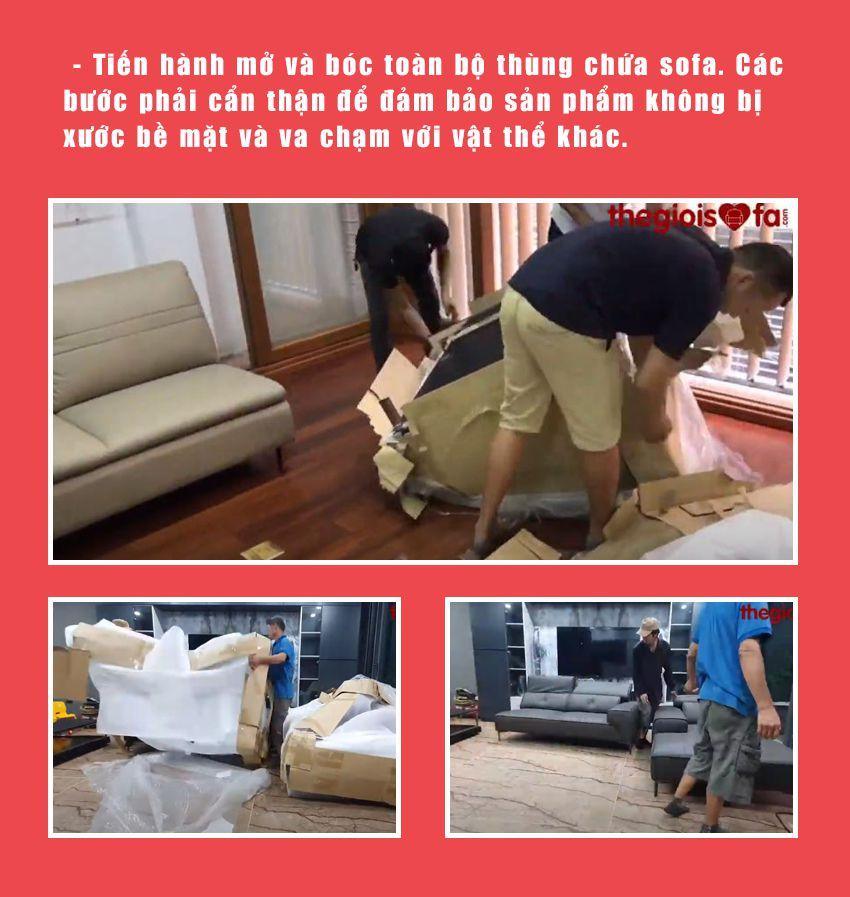 Bước 4: Bóc thùng sofa da Malaysia