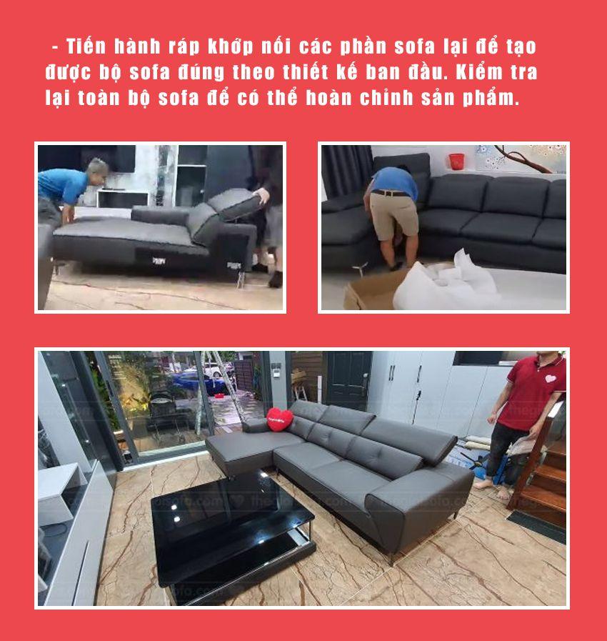 Bước 5: Lắp ráp hoàn chỉnh sofa