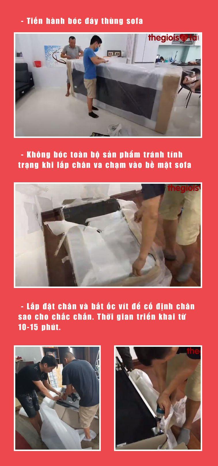 Bước 3: Lắp chân cho sofa Malaysia