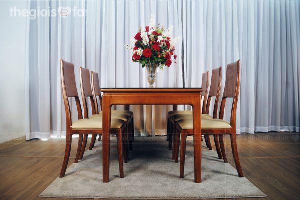 Bộ bàn ăn 6 ghế gỗ Sồi Greenwood - mặt kính cao cấp
