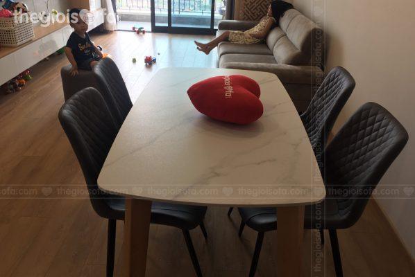Giao hàng bộ bàn ăn mặt đá Helmsley cho anh Sơn tại Hinode – 210 Minh Khai – Mua bàn ăn Quận Hai Bà Trưng