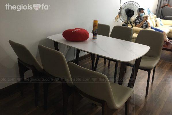 Giao hàng bộ bàn ăn 6 ghế mặt đá Genoa cho anh Tiến tại 136 Hồ Tùng Mậu – Mua bàn ăn Quận Cầu GiấyThông tin chi tiết bộ bàn ăn 4 ghế Genoa