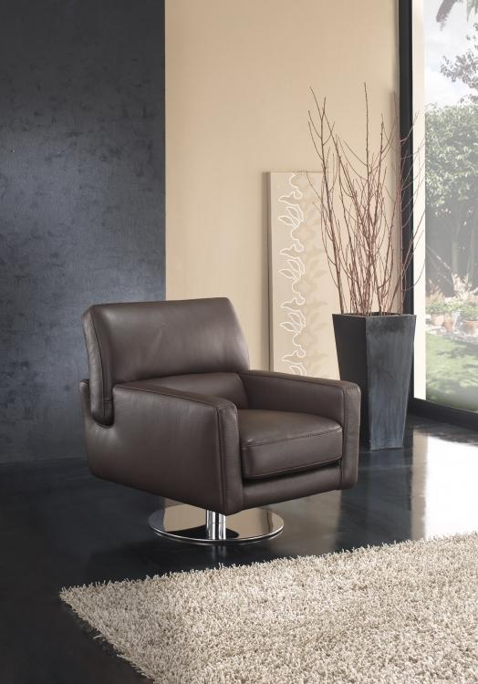 Ghế thư giãn da bò Ý – ghế đơn xoay Epsom - showroom Thế Giới Sofa