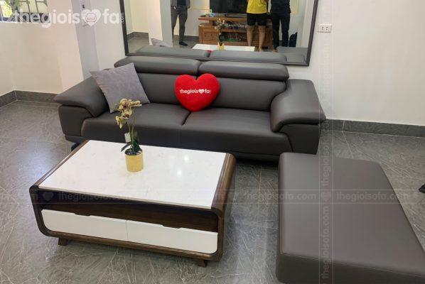 Giao hàng sofa văng da Lyman cao cấp cho chị Nên tại Mê Linh – Mua sofa tại Quận Hà Đông
