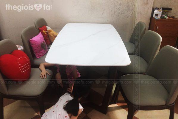 Giao hàng bàn ăn mặt đá 6 ghế Genoa cho chị Nga tại 195 Trần Cung – Mua bàn ăn Quận Bắc Từ Liêm
