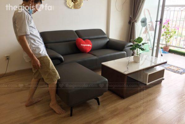 Giao hàng sofa văng da Lyman cao cấp cho chị Ngân tại chung cư 360 Giải Phóng – Mua sofa Quận Thanh Xuân